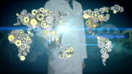 Researcher, Engineer open palm, Steel golden gears making global world map. global connect technology.1. video