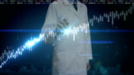 Researcher engineer touched screen, various animated Stock Market charts and graphs. increase line. Artificial Intelligence video