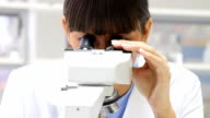 Researcher looking into a microscope in laboratory. video