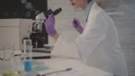 4K: Researcher Using Microscope In Her Lab. video