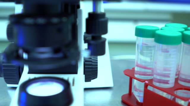 Researchers using a microscope in laboratory, Slow motion video