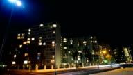 Residential blocks with flickering lights video