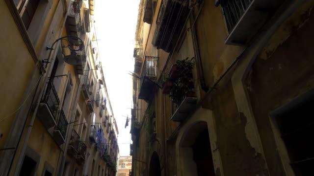 POV Residential buildings in narrow street of Palermo video