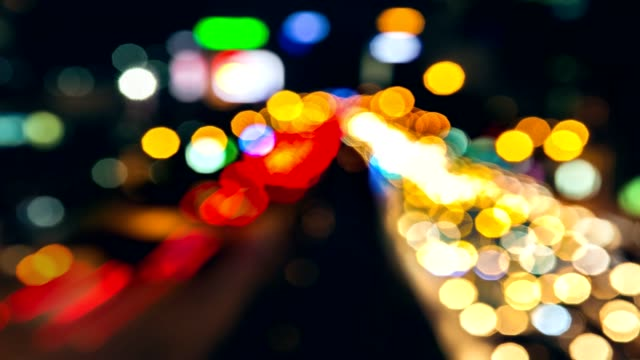 4K resolution, Bokeh is running on the street abstract background. Wonderful abstract is blur lighting in the city. Abstract communication background traffic at night. video