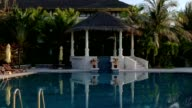 Resort with outdoor swimming pool zooming in. video