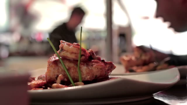 Restaurant gourmet seafood plate video