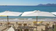 Restaurant on Beach, Establishing Shot - Cannes, France video