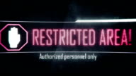 Restricted area, authorized personnel only screen text, system notification video