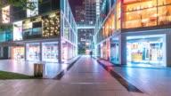 retails on shopping street at night hyperlapse 4k video