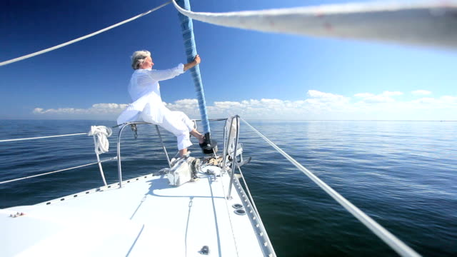 Retired Lady on Board a Yacht video