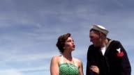 retro 50s girl flirts with sailor video