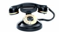 Retro black phone ringing. 3D rendering. video