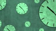 Retro clocks show time moving fast video