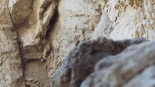 Reveal of rock climbers untying their ropes video