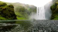 Reverse Drone Shot of Waterfall video
