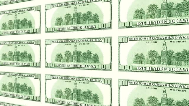 Reverse side of 100 dollar bills in 3d perspective video