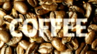Revolving Coffee beans with text. HD video