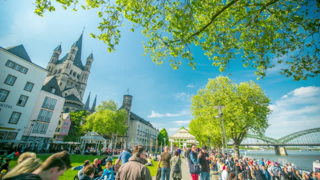 Rhine embankment and Great St Martin church  in the old town Cologne video