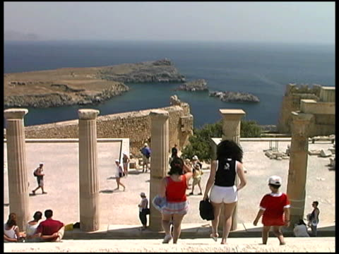 Rhodes, Greece: Tourists at Acropolis of Lindos Ruins video