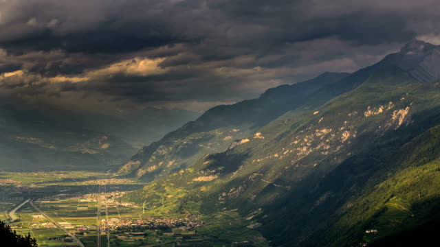Rhone valley Switzerland storm coming time lapse video