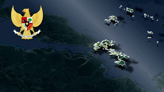 Riau Islands with Coat Of Arms Animation Map video