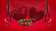 Ribbons, gold rings and hearts with red background loop ready video