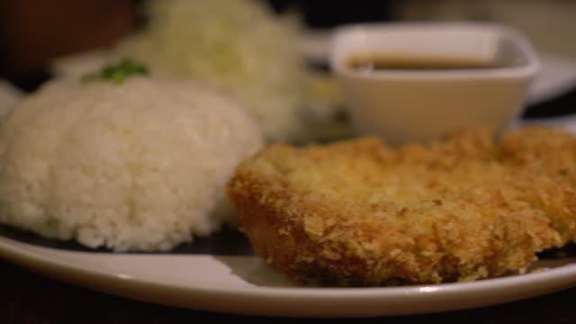 Rice with Pork Cutlet Tonkatsu - japanese food video