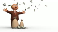 Rich 3D Business Man With Falling Dollars video