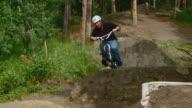 Rider on BMX stunt track video