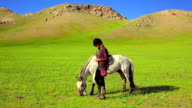 Rider Woman with mongolian horse video