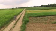 AERIAL Riding a dirt bike along fields video