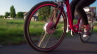 Riding Electric Bicycle low angle view video