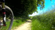 POV Riding Electric Mountain Bike In Spring Close-up video