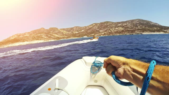 Riding inflatable boat rib video