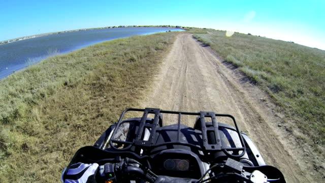 Riding quad bike POV video