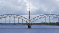Riga view with bridge over river, Latvia video