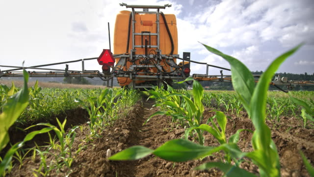 SLO MO Right behind the boom sprayer spraying crops on the field in sunshine video