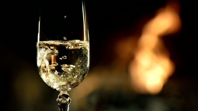 HD SLOW MOTION: Ring In A Glass Of Champagne video