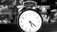 Ringing alarm clock, monitoring, black and white video