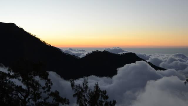 Rinjani mountain under clouds video