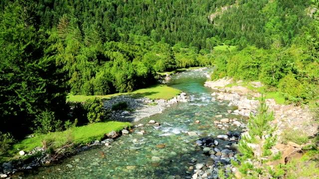 Rio Ara river in the Torla in Valle de Ordesa valley Pyrenees Huesca Aragon at Spain video