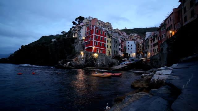 Riomaggiore fisherman village of five famous colorful villages, Cinque Terre in Italy video