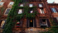 Rione Monti in the center of Rome: building covered by ivy video