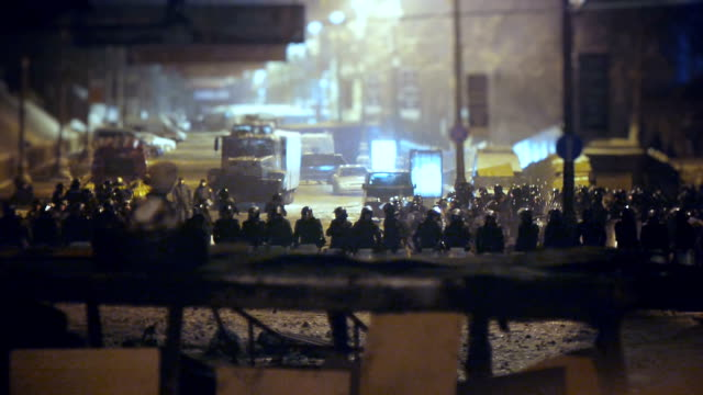 Riot police at demonstration in Kev - January 2014 video