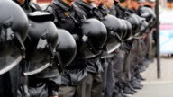 Riot Police with Helmets at an Opposition demonstration, Russia video