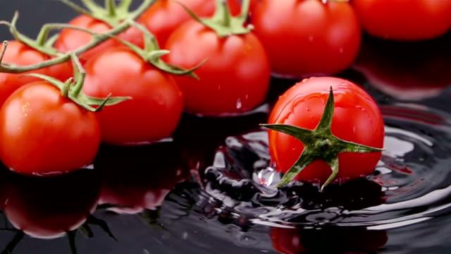 Ripe Tomato Falls on the Table. video