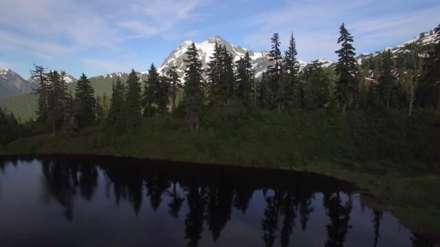 Rising Aerial from Highwood Lake to Reveal Snowy Peaks of Mt Shuksan in Summer video
