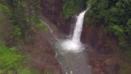 Rising Aerial of Forest Canyon with Waterfall video