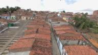 Rising aerial shot revealing Brazillian favela video