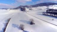 4K rising aerial shot - winter panorama video